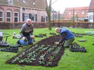 Tuincommissie voorziet perken van nieuwe planten.